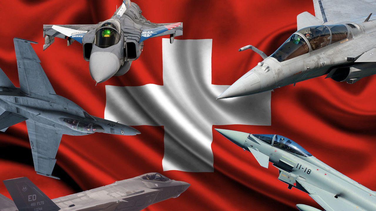 Les cinq appareils (Super Hornet, F-35A, Gripen, Rafale et Eurofighter) engagés dans cette compétition.