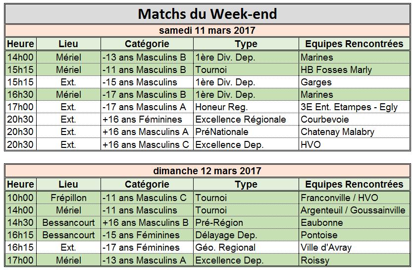 Week-end du 11 / 12 Mars 2017