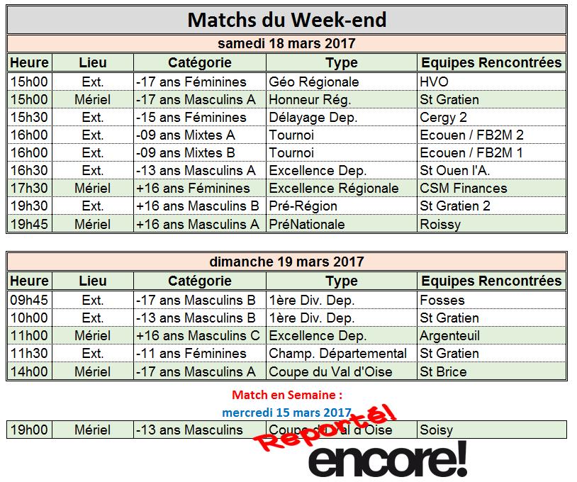 Week-end du 18 / 19 Mars 2017
