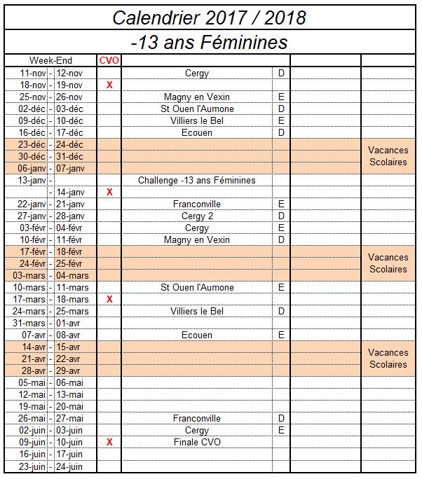 Championnat -13 ans Féminines