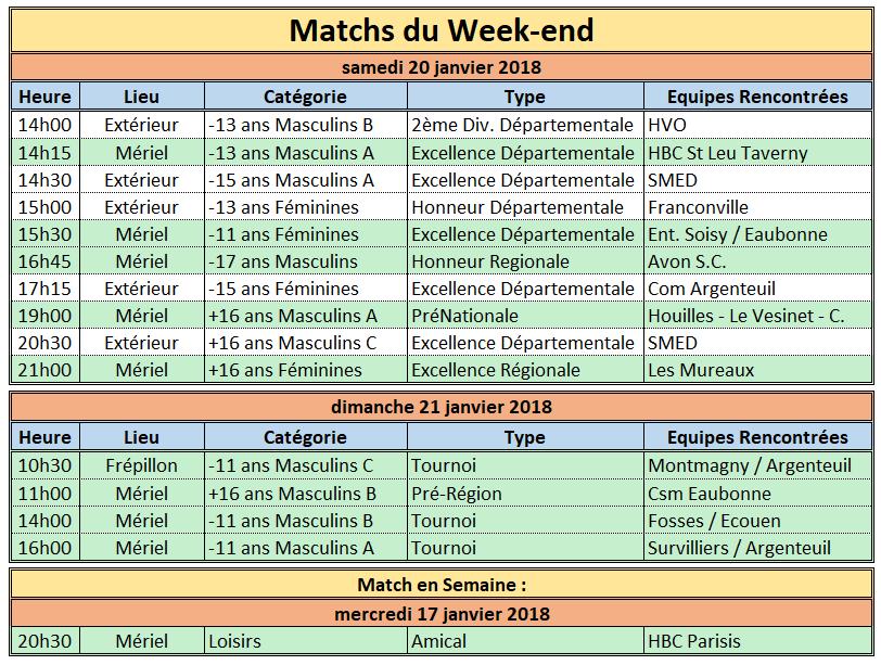 Week-end du 20 / 21 Janvier 2018