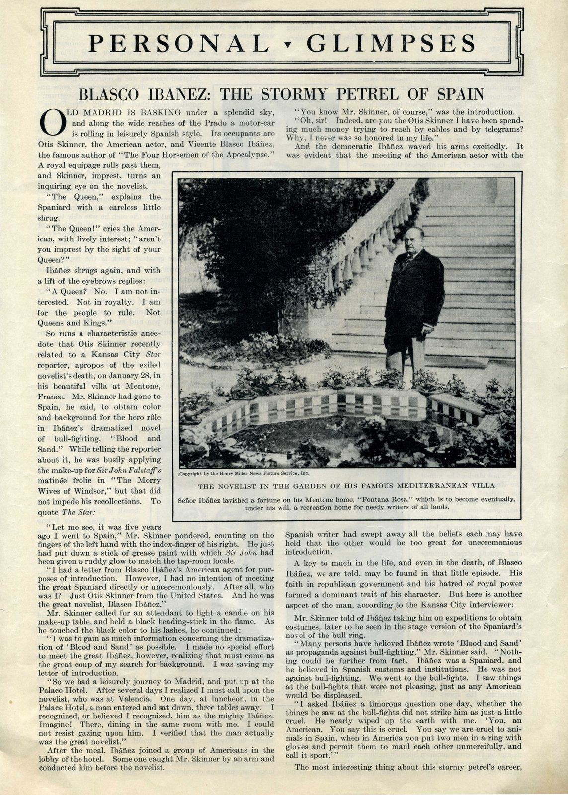 Vicente Blasco Ibañez : The Literary Digest - February, the 25th of 1928