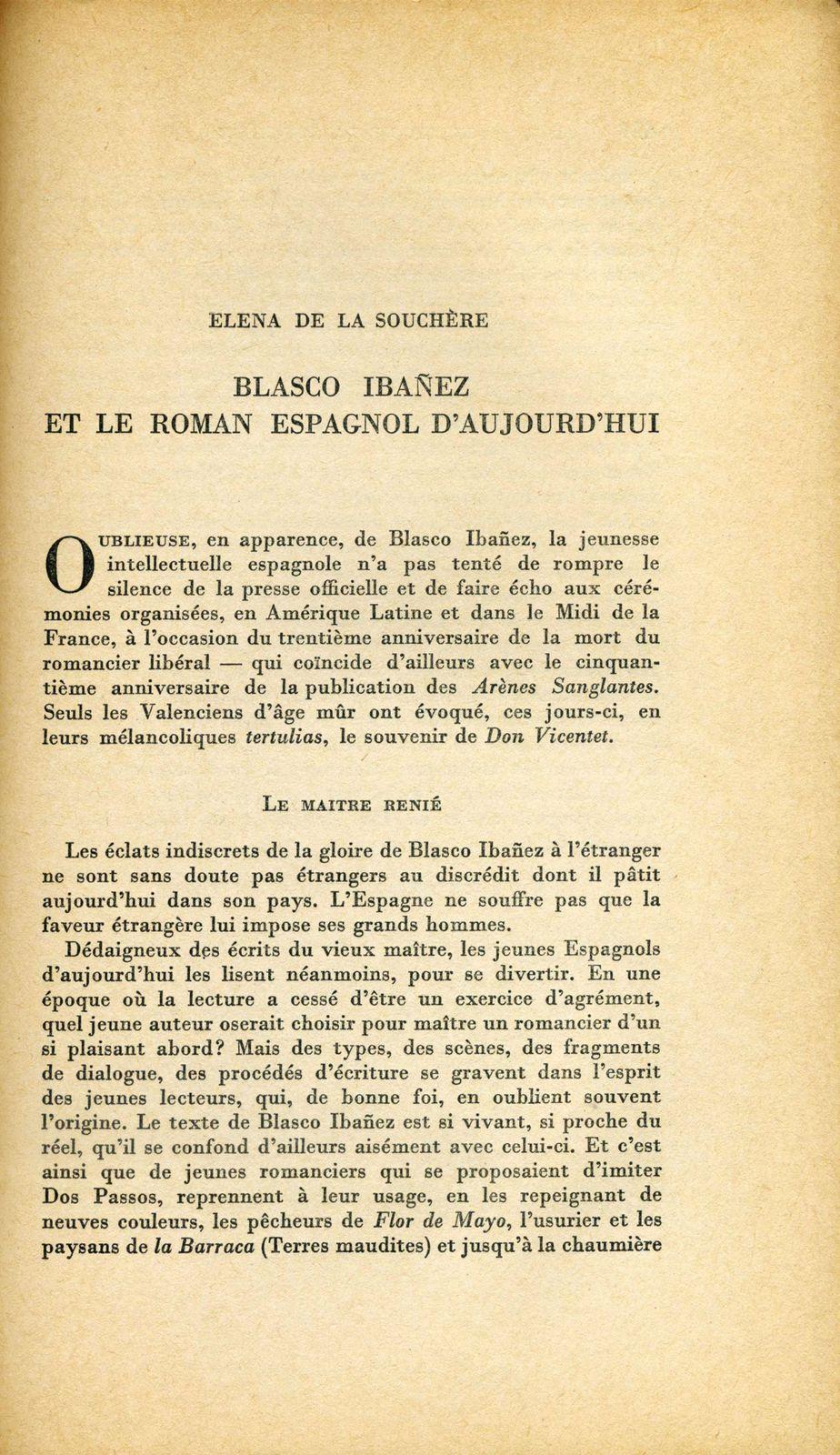 Article d'Elena de la Souchère aux Lettres Nouvelles.