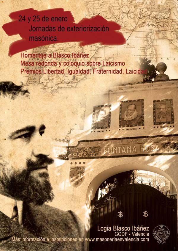 Affiche de la réunion publique de la Loge Blasco Ibañez de Valence (ESP)