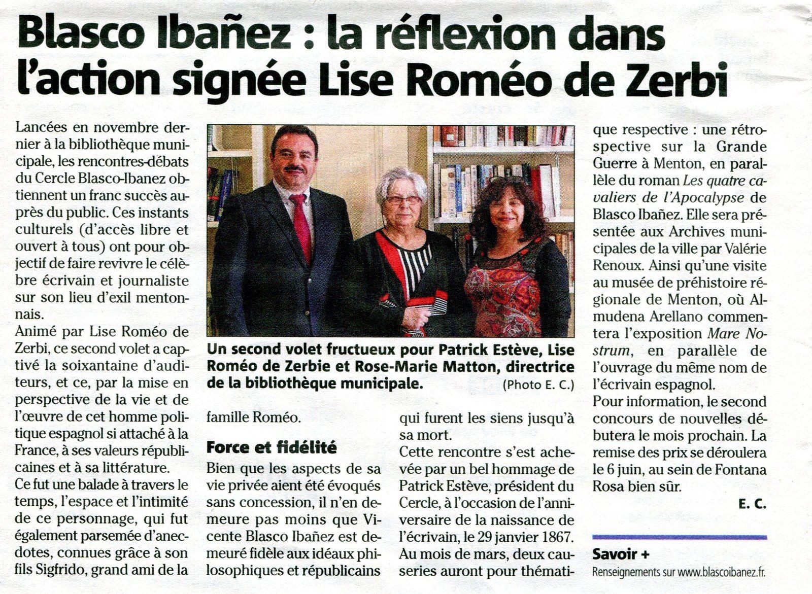 """3ème rencontre-débat du Cercle Blasco Ibañez """"Vicente Blasco Ibañez : la réflexion dans l'action"""""""