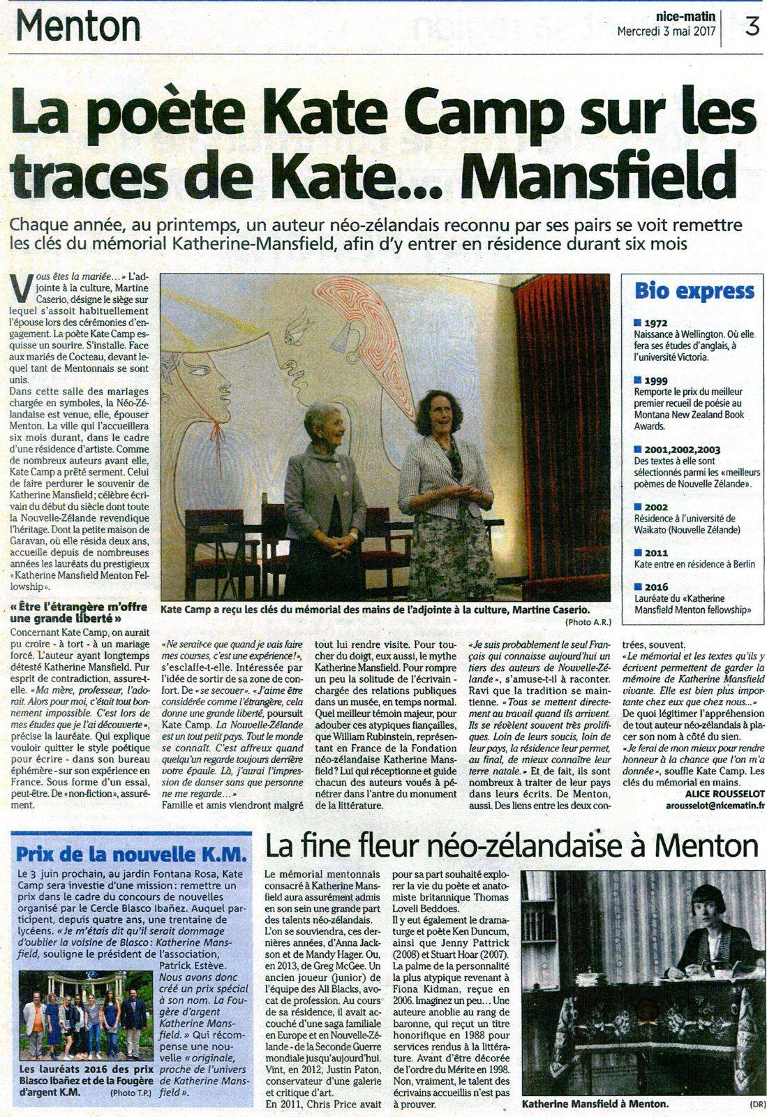 Remise des clés du mémorial Katherine Mansfield par Mme Martine Caserio Adjointe au maire de Menton chargée de la culture