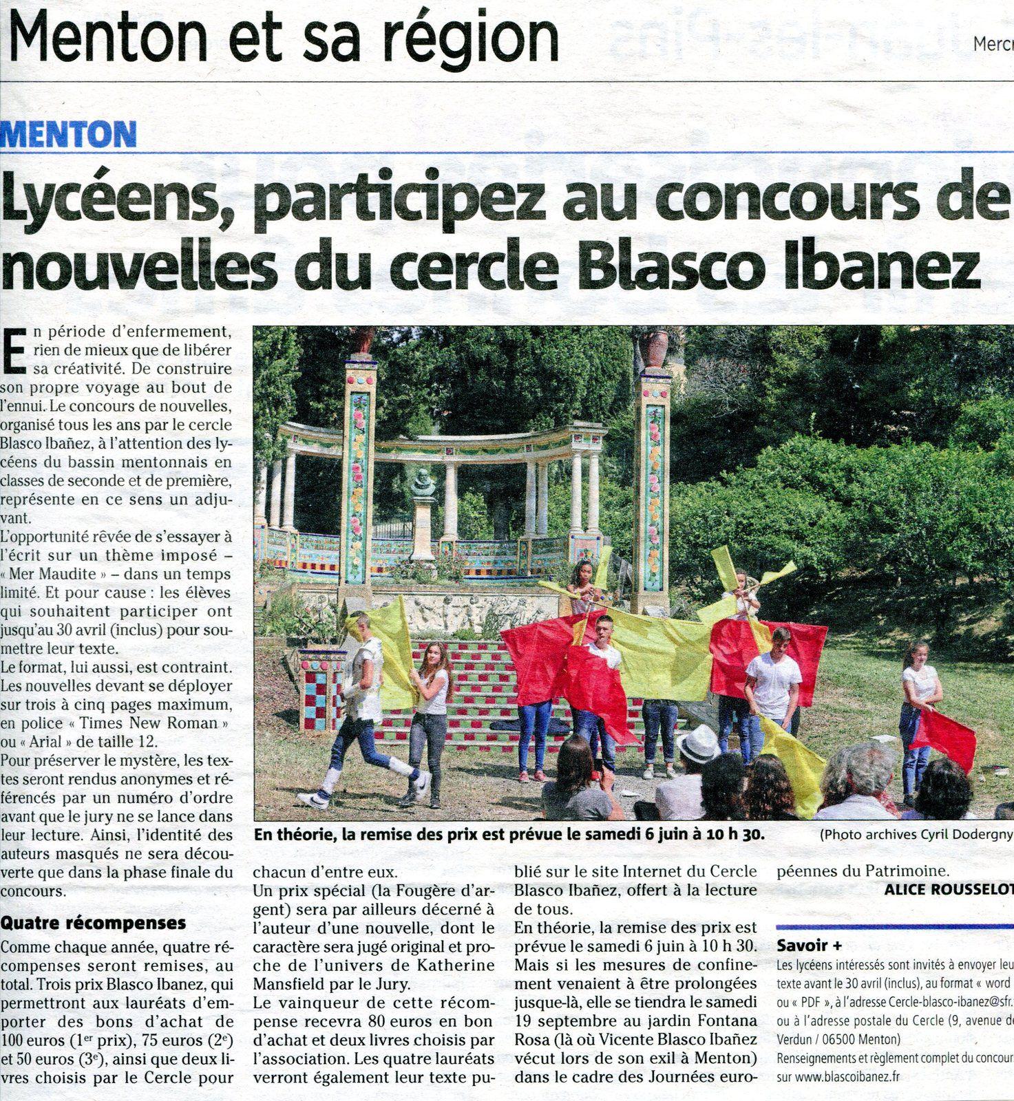 Le journal Nice-Matin se fait l'écho du concours de la nouvelle 2020 du Cercle