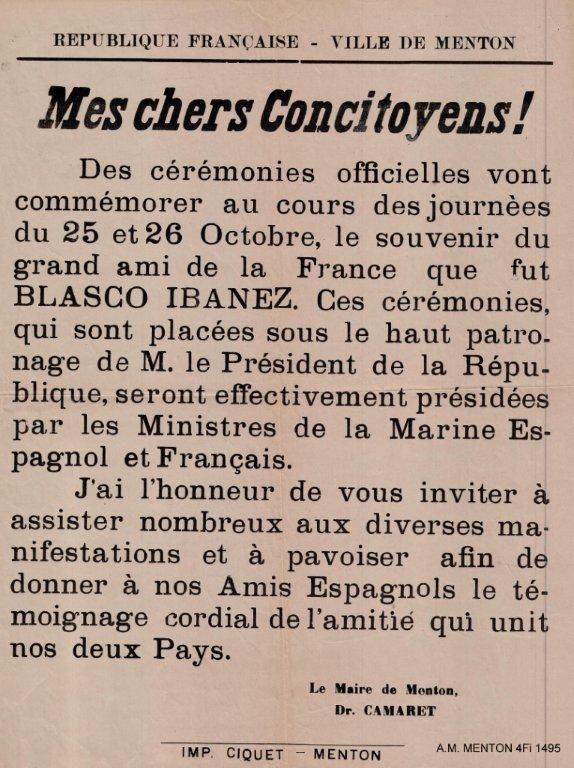 Affiche émise par la Ville de Menton lors de la translation des cendres de Vicente Blasco Ibañez à Valence en 1933