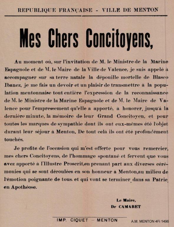 Hommage de Monsieur le Maire de Menton (le Dr Camaret) à Vicente Blasco Ibañez en 1933
