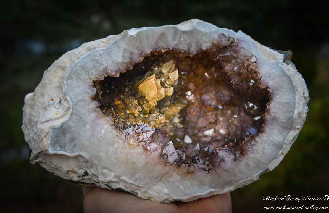 Calcite on Amethyst Geode from Idar Oberstain, Germany (photo and specimen by: Richard Dusty Mercier)