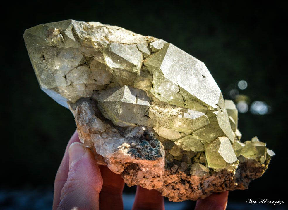 Bi-terminated Quartz with Chlorite from Alpes, France (size: Cabinet)