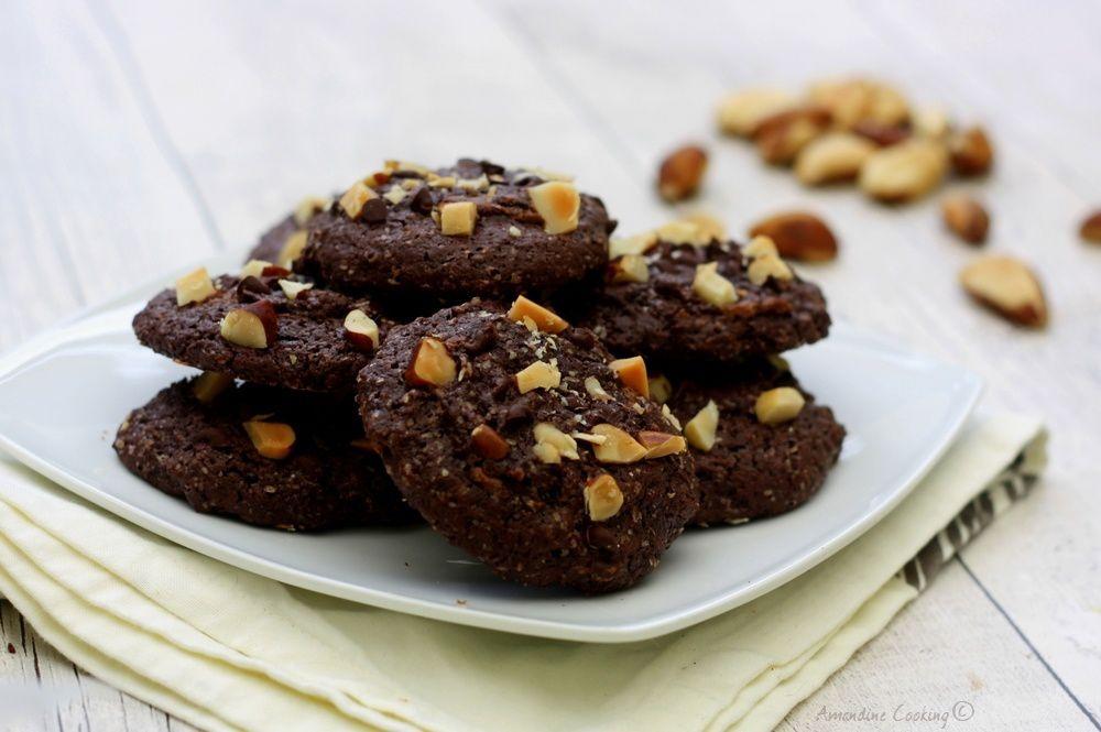 Cookie au chocolat et noix du Brésil, coeur coulant pâte à tartiner
