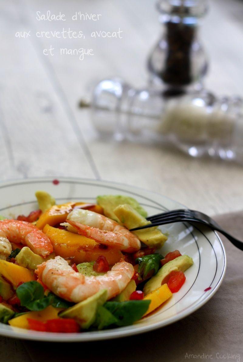 Salade d'hiver : crevettes, avocat et mangue
