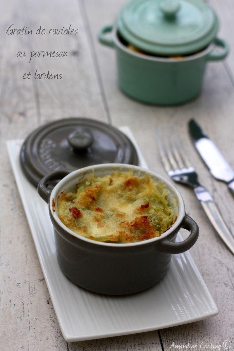Gratin de ravioles au parmesan et lardons