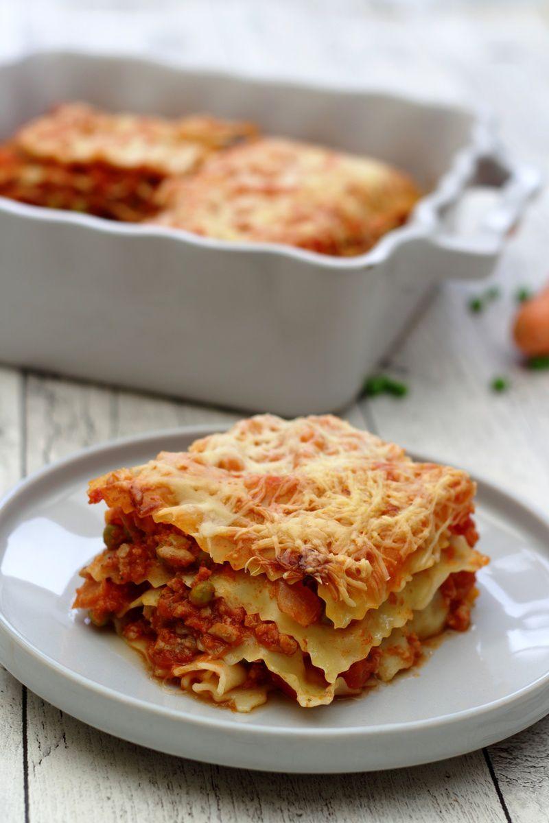 Lasagnes au veau, petits-pois et carottes