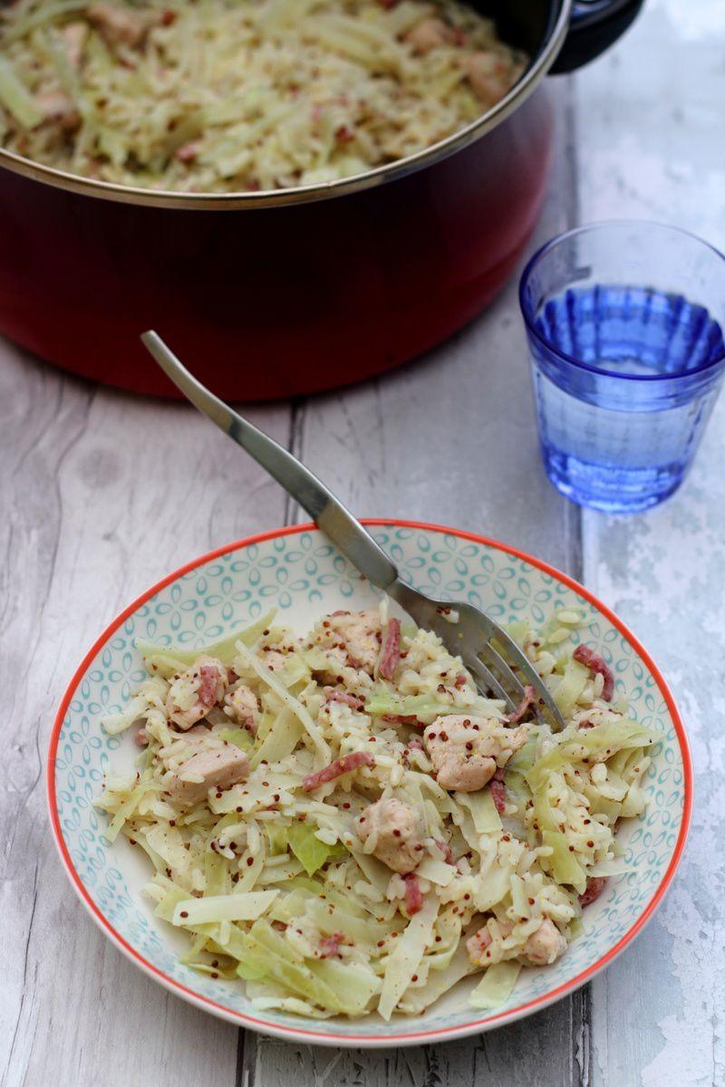 One pot: riz, dinde, bacon, chou et sauce crémeuse à la ...
