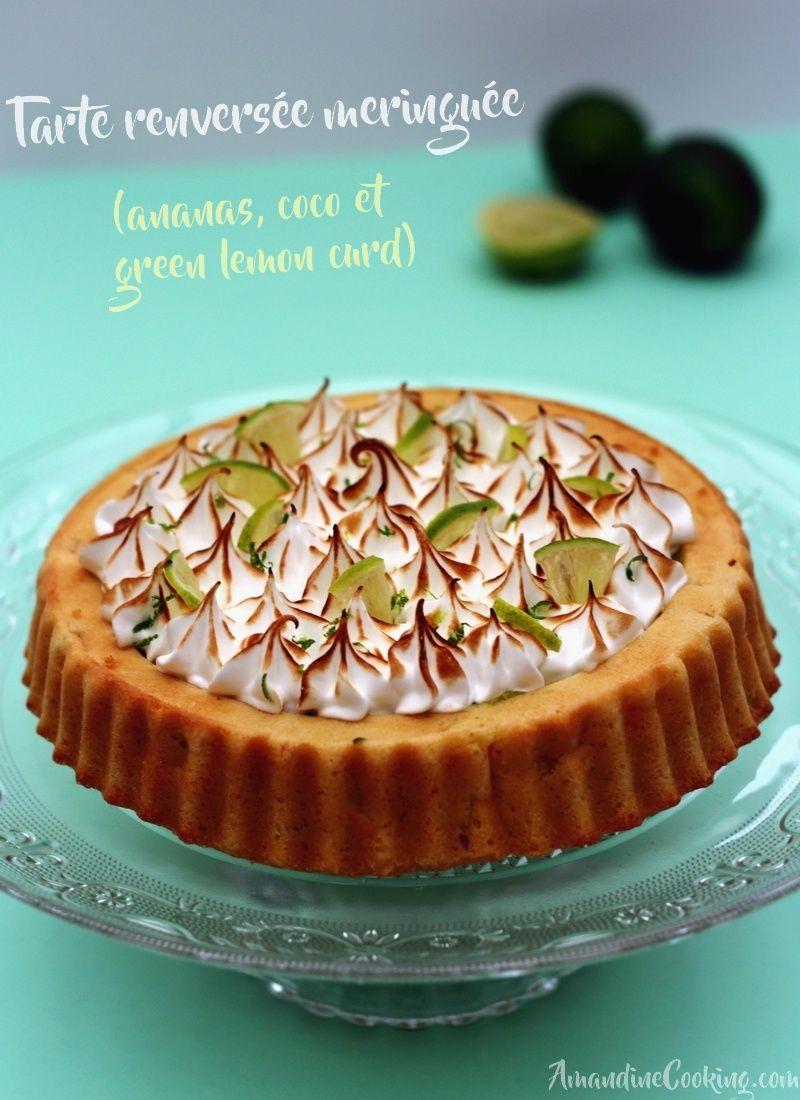 Gâteau exotique meringué à l'ananas, coco et green lemon curd