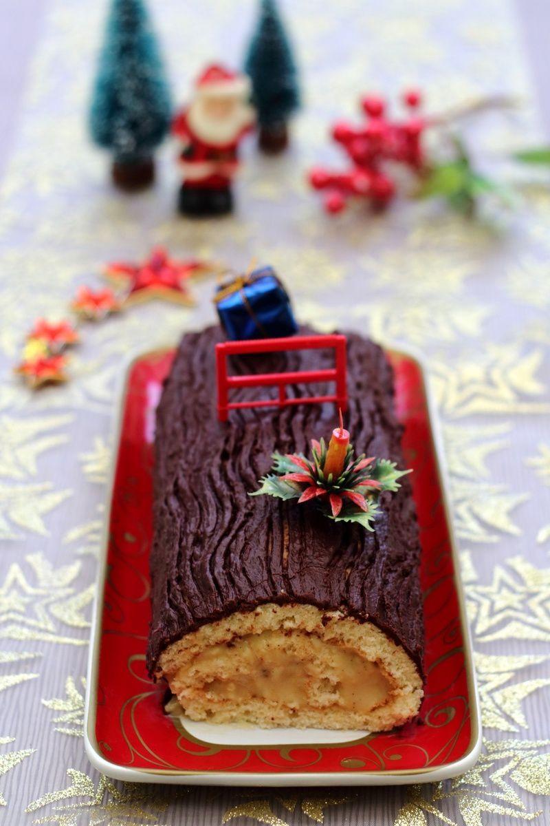 Bûche pâtissière à la vanille et chocolat (facile et rapide)