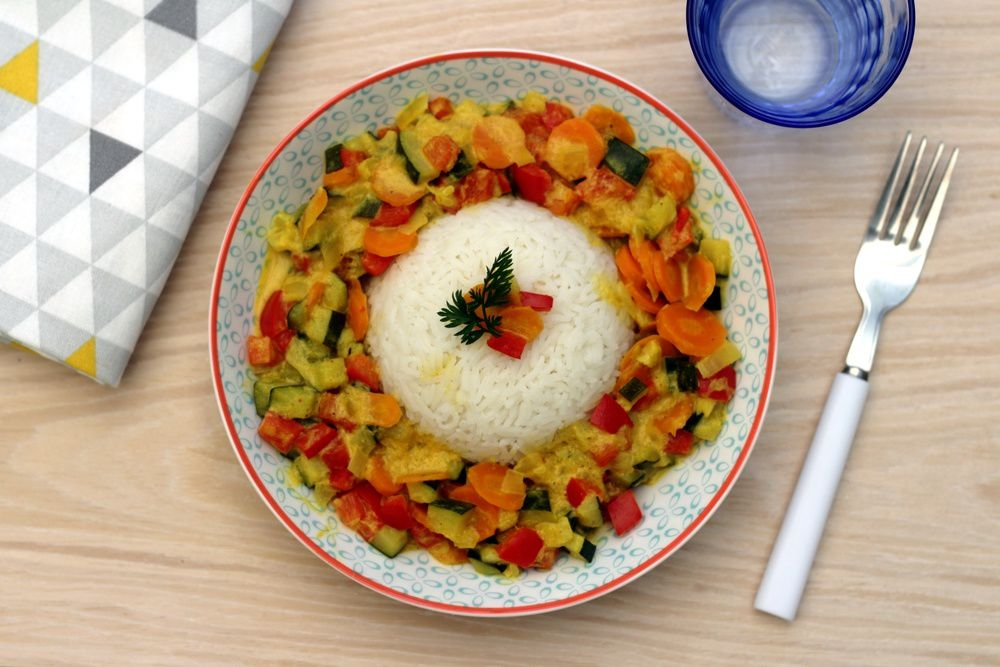 légumes, curry, coco