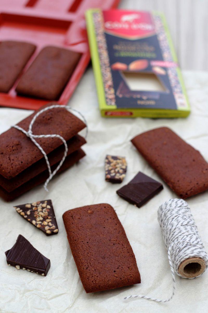 Financiers au chocolat et éclats de noisettes et amandes caramélisées