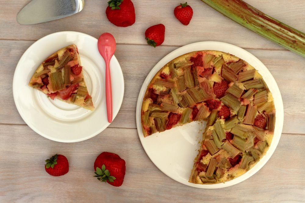 gâteau renversé fraise rhubarbe