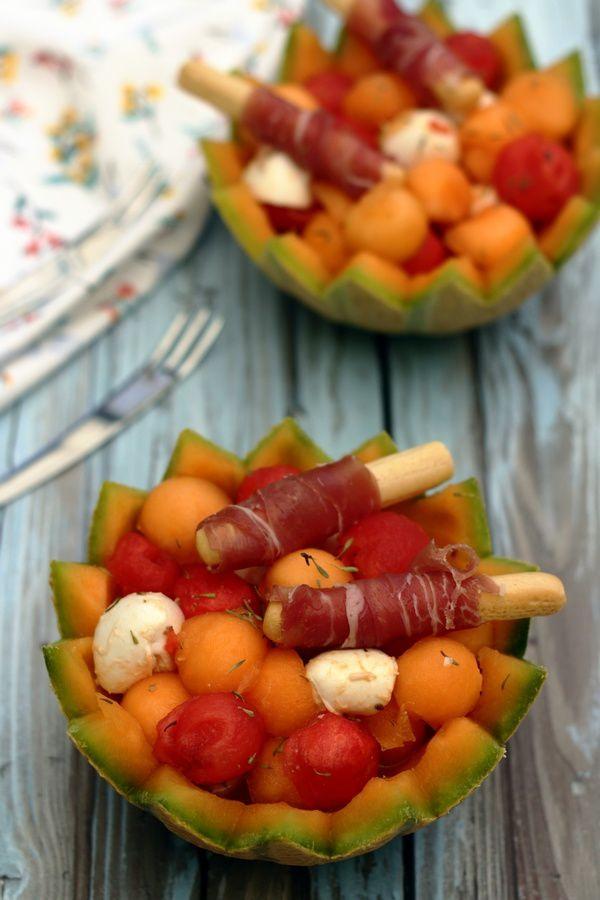 salade de billes de melon et pastèque