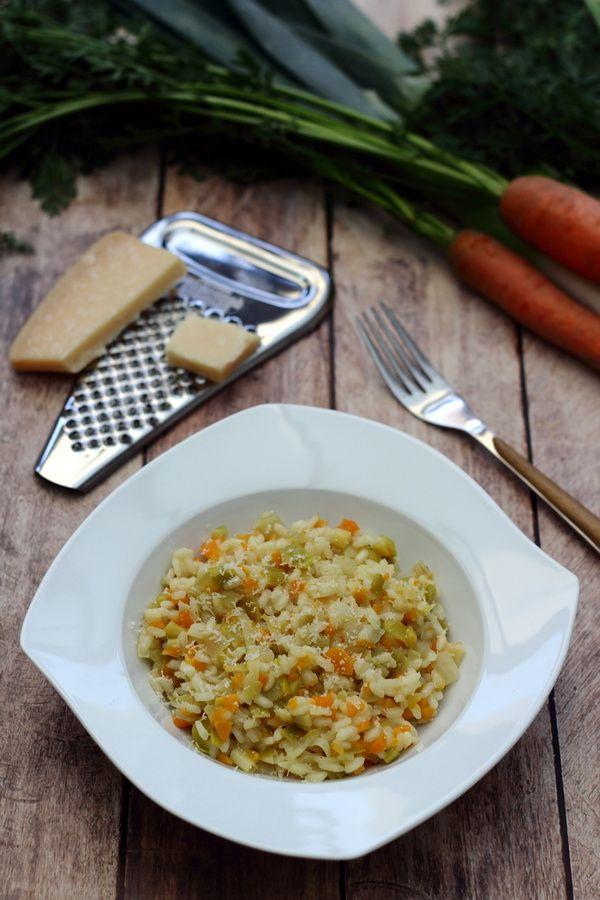 Risotto aux poireaux et carottes