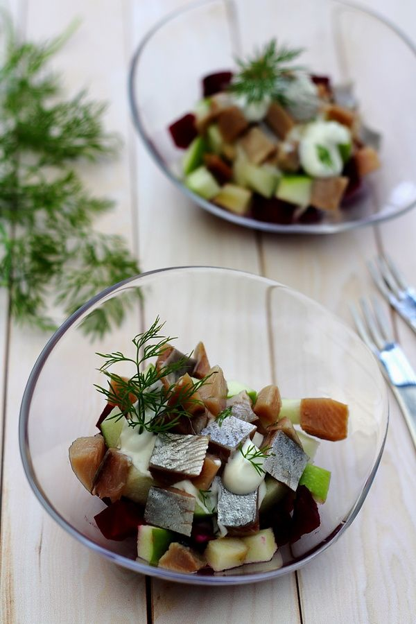 Salade de hareng fumé, betterave et granny smith