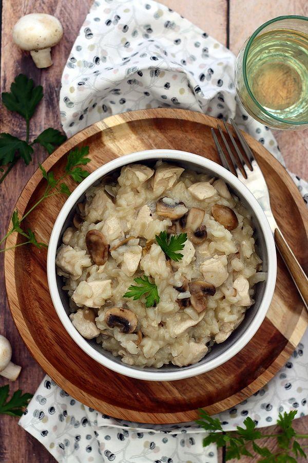Risotto aux champignons et poulet - Amandine Cooking