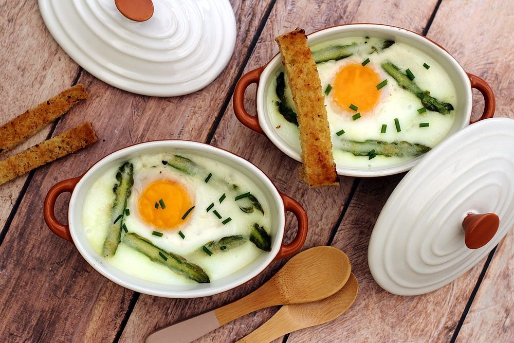 oeuf cocotte asperges vertes