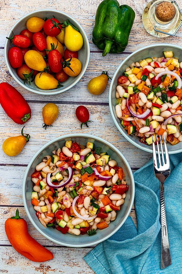 Salade de haricots blancs et légumes d'été - Amandine Cooking
