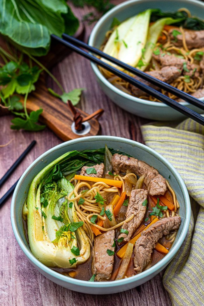 broth asian meat noodles