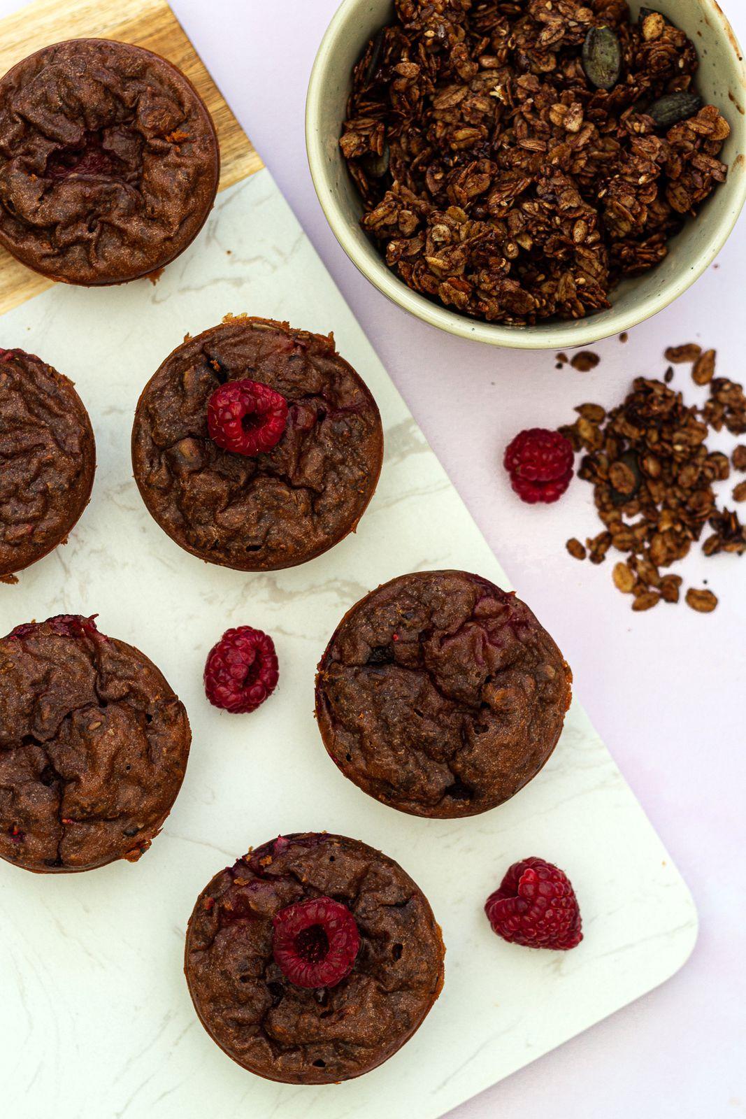 muffin granola chocolat framboise