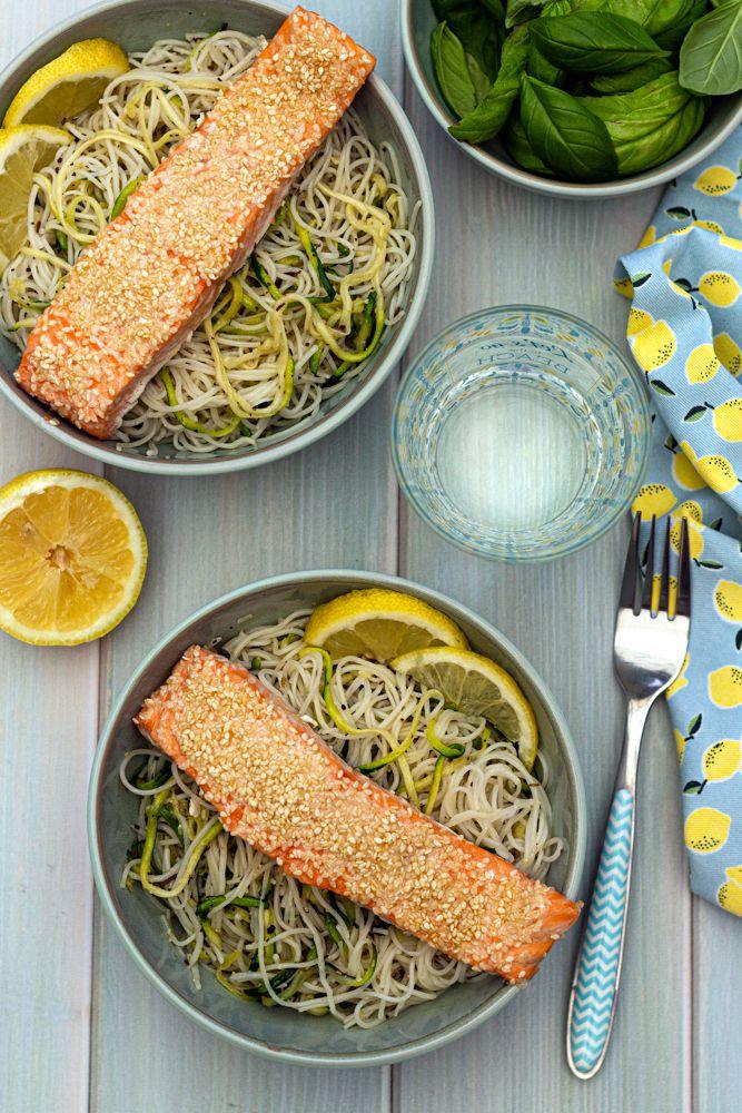 saumon salade pate courgette