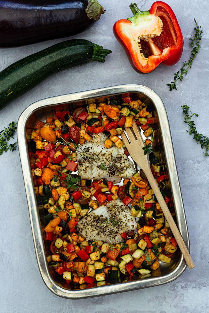 cabillaud légumes au four