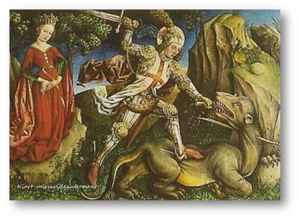 Les fresques, peintures et sculptures représentant Saint-Georges terrassant le dragon étaient très présents dans les chapelles des Templiers qui en ont fait leur saint patron et protecteur.