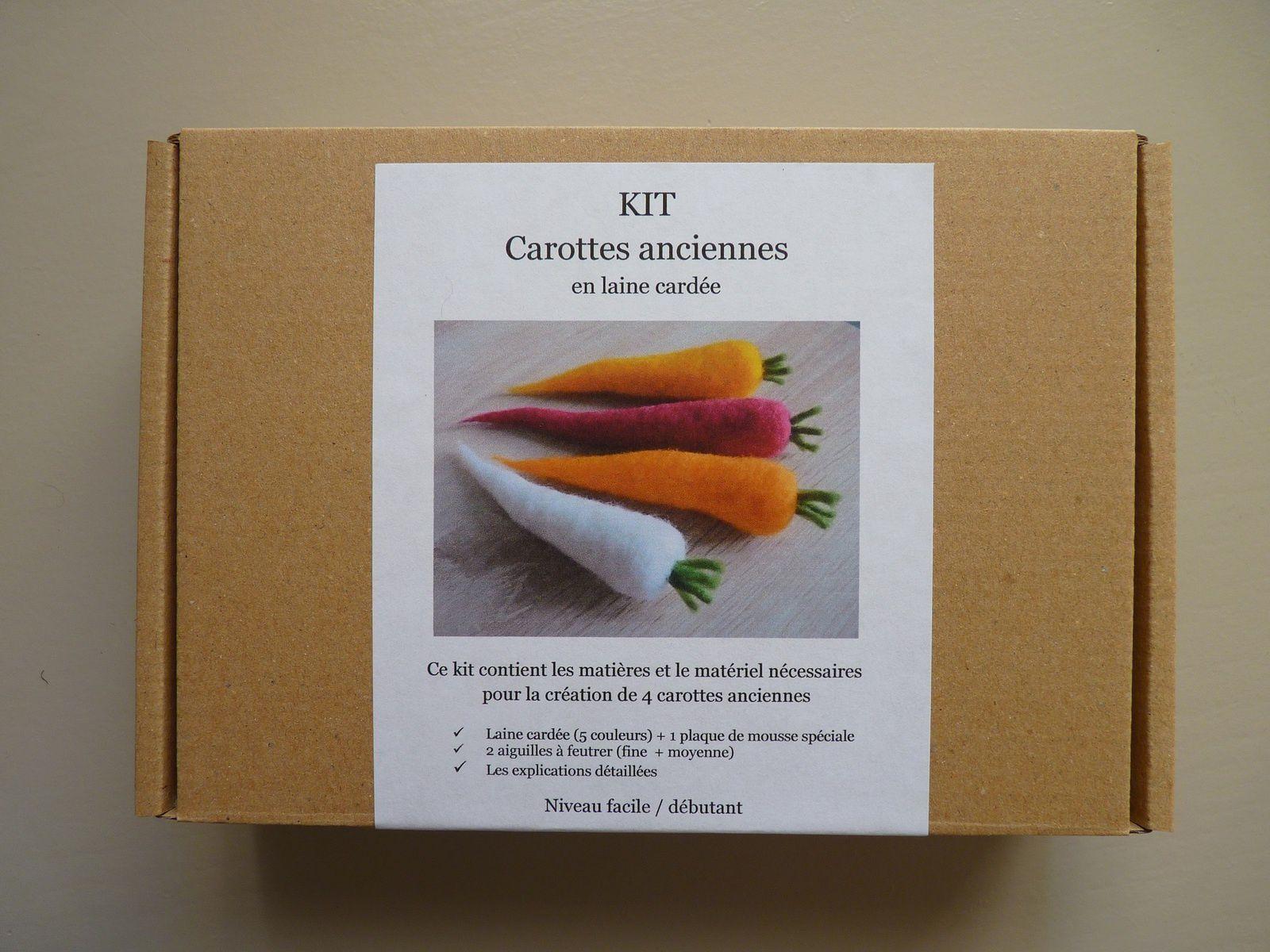 Kit carottes anciennes en laine cardée
