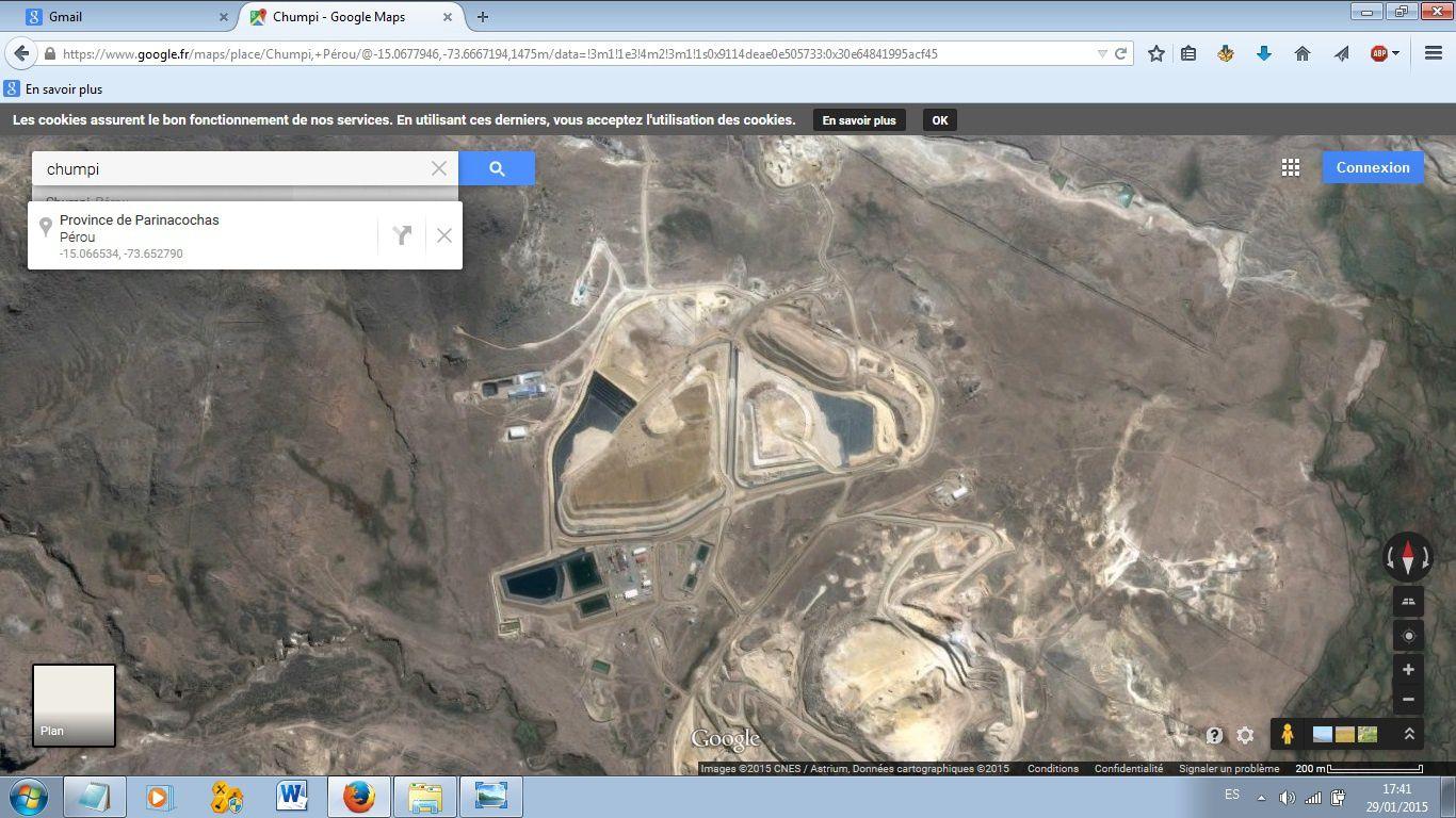 La mine de Breapampa, au sommet du Cerro Chumpi. Capture d'écran de Google Earth (2105)