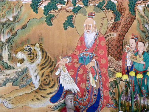Painting of Sanshin Mountain-spirit at Odae-san Woljeong-sa (Korea)