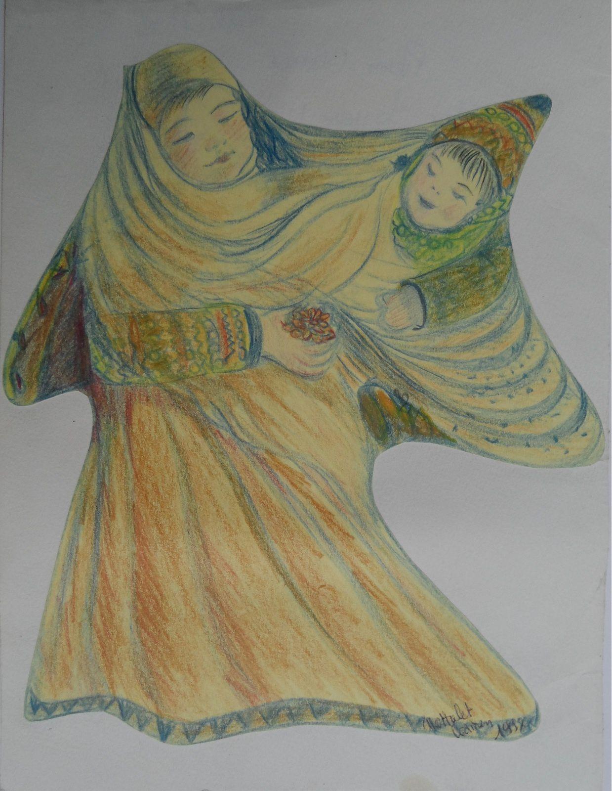 Mère amérindienne et son enfant. Dessin par Carmen Nottrelet (1994)