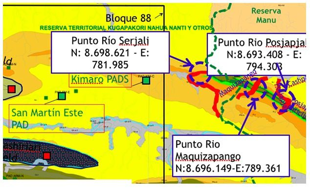 """Part of a Pluspetrol map showing its interest in doing """"geological fieldwork"""" in the Manu National Park in Peru's Amazon. Photograph: Screenshot of Pluspetrol map. Look at the map. What it shows is a gas company's interest in doing """"geological fieldwork"""" at two UTM-referenced points in the far west of the Manu National Park in Peru's Amazon:"""