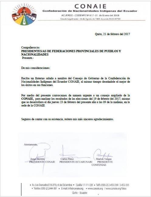 Le Gouvernement d'Equateur en guerre contre les indigènes