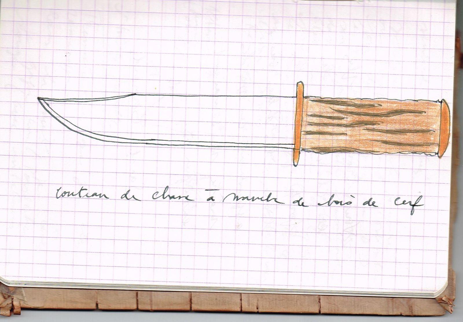 Croquis pour un couteau de chasse. P.O. Combelles, 1996.
