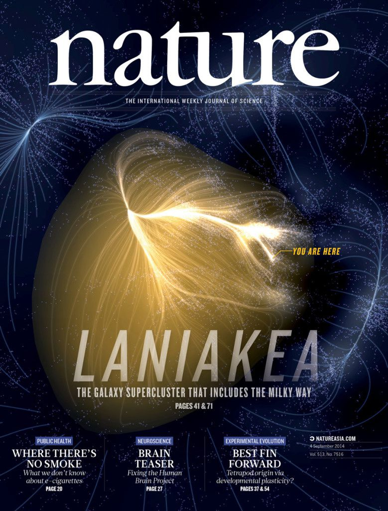 The Laniakea Supercluster of Galaxies, Nature, volume 513, number 7516, p.71 (4 September 2014) par R.Brent Tully, Hélène Courtois, Yehuda Hoffman and Daniel Pomarede.