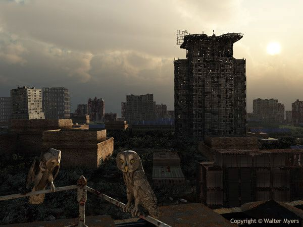 Walter Myers: Urban ruins with Grey Owls  A light urban environment as it may appear after having been abandoned to the elements for a century or so. In the foreground is a pair of owls of the species Strix nebulosa, known as Great Grey Owls. Location  North America  2120 A.D. http://www.arcadiastreet.com/cgvistas/earth/06_future/earth_06_future_1000.htm