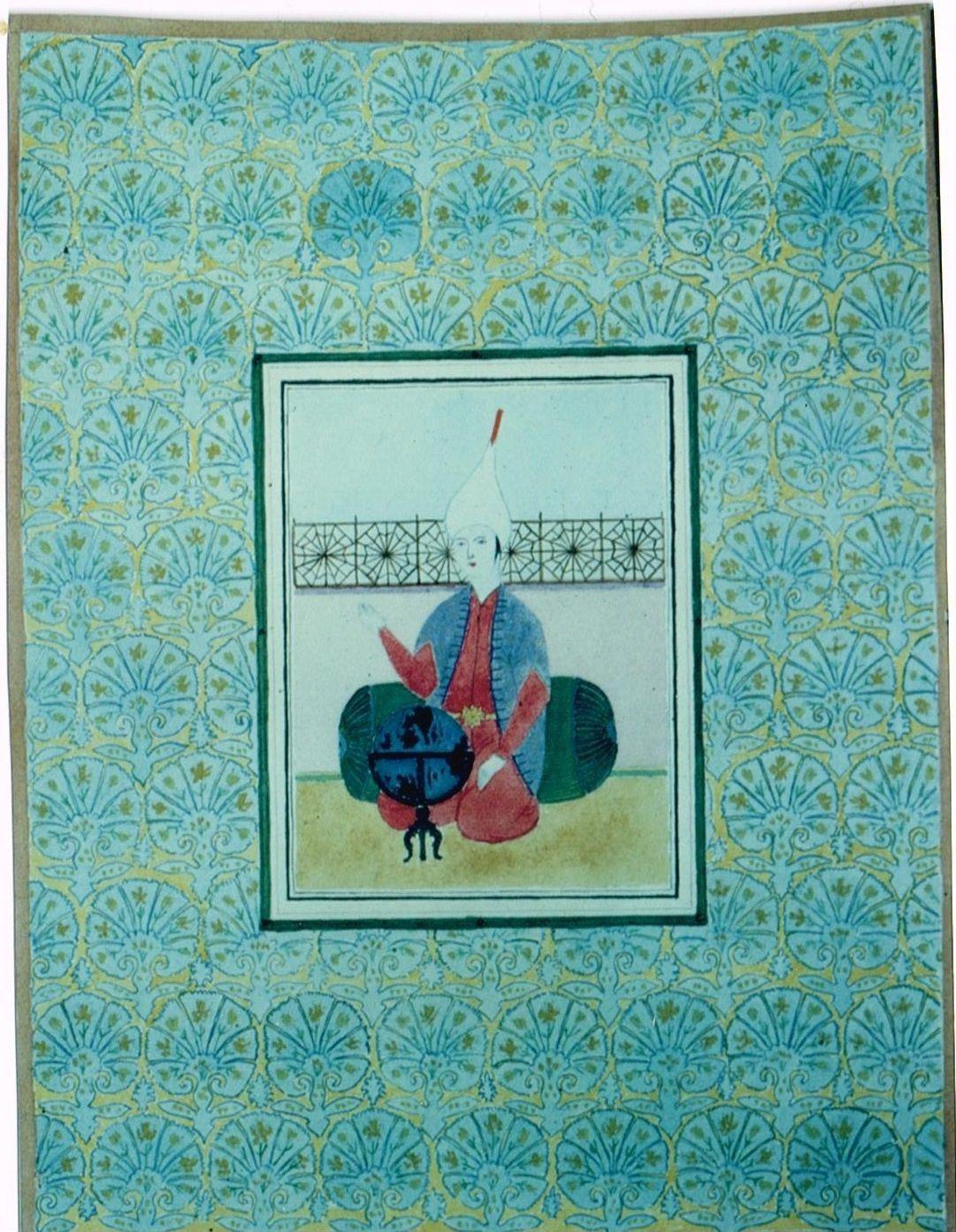 Pierre-Olivier Combelles. Autoportrait à la manière des miniatures persanes. Aquarelle. Vers 1977.