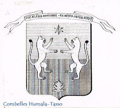 """Armes Combelles Humala-Tasso. """"Coupé d'azur et de sable à deux pumas rampants et affrontés d'or, accompagnés en chef d'une étoile à six rais d'argent et en pointe d'une feuille d'alisier torminal (Sorbus torminalis L.) de sinople."""""""