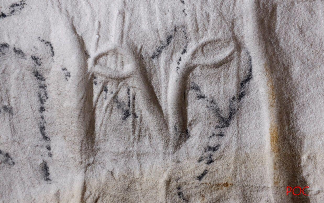 """Le deuxième """"visage félin"""" de la caverne, plus petit. Photo: Pierre-Olivier Combelles"""