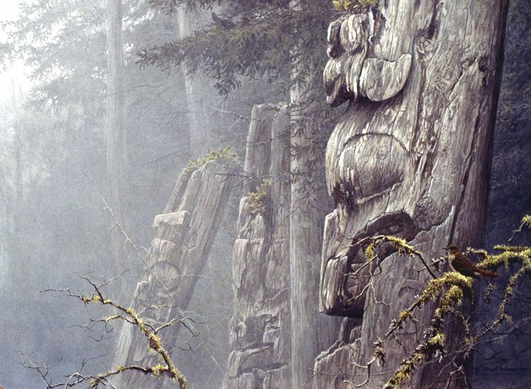 """Robert Bateman: Spirits of the Forest. """"I was privileged to visit the best place where these totems of the tribes of the northwest coast of America still stand. I felt a strong spiritual presence there, one of the most moving experiences of my life. The visages on the poles face the sea, with their backs to the giant, cathedral-like forest."""" Robert Bateman. L'oiseau représenté sur une branche en bas à droite est la grive solitaire (Catharus guttatus),  Hermit Thrush."""