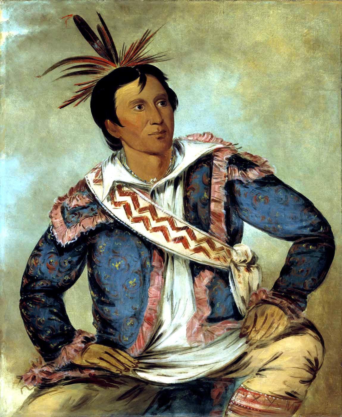 Le chef Chacta Peter Pitchlynn (Há-tchoo-túc-knee, Snapping Turtle), peint en 1834, par George Catlin.